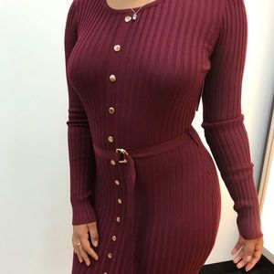 ‼️ Burgundy Sweater Dress Stretchy Fitted Bodycon
